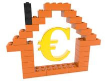 House contour with euro sign.3d illustration. In backgrounds stock illustration
