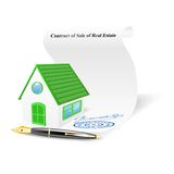 House with contract of sale of real estate. Vector illustration Stock Photo