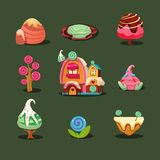 House From Cookies, Islands Sweets, Caramel Trees. Magic Elements for Game Royalty Free Stock Image