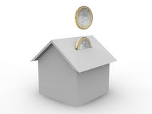 House cost. Euro coins fall in a house concept Royalty Free Stock Images