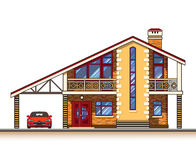 House cottage vector graphics. House or cottage, a carport and a car. Color graphics vector Royalty Free Stock Photos