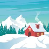 House - cottage in winter and snowy winter time. Cute, lovely cartoon design, suitable for your element of winter theme project royalty free illustration