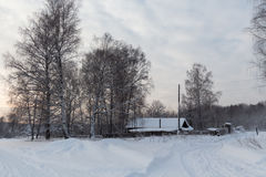 House in the country in winter time Royalty Free Stock Photo