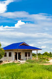 House on the countryside. Simple house with blue roof being built on the countryside Royalty Free Stock Images