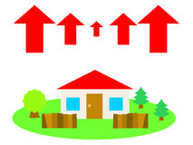 A house in the countryside and up arrows Royalty Free Stock Photo