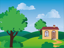 A house in the countryside. Vector illustration of a lonely house in the countryside Stock Images