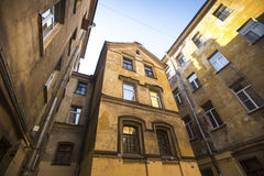 House court yard in the historic center of St. Petersburg, Russia. Walking. Royalty Free Stock Photos