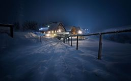 House coverd with snow at night stock image