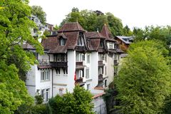 House covered with a beautifully shaped roof royalty free stock images