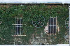 House covered with grass with bikes hanged from a horse wagon Stock Photography