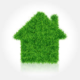 House covered green grass.Vector icon Royalty Free Stock Images