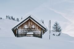 House Covered in Snow Stock Photography