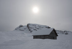 House covered with the snow. Italy Royalty Free Stock Image