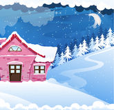 House covered with snow. Fairy house with pink tiles in a pine forest. Winter night landscape Stock Photos