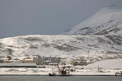 House covered with snow in the Russian town of Severo-Kurilsk on the Kuril Islands Royalty Free Stock Image