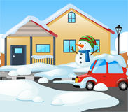 House covered with snow in winter Royalty Free Stock Image