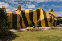 House is covered by tent for fumigation Royalty Free Stock Photo