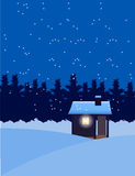 House covered in Winter snow. Vector illustration of houses on a ice land and the environment is snow falling at night Royalty Free Stock Photography