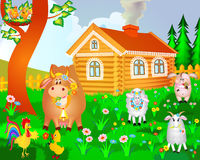 House cow pig birds and sheep Stock Photo
