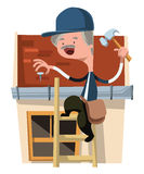 House craft worker man fixing  illustration cartoon character Stock Photography