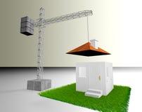 House and crane. Conceptual 3d image of crane building a house vector illustration