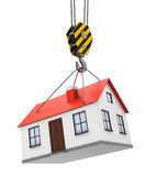 House and crane hook. 3d illustration of house and crane hook over white background Royalty Free Stock Images