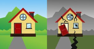 The house that crashed after the earthquake and storm. Vector Illustration vector illustration