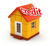 House and Credit (clipping path included) Stock Image