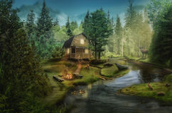 House by the creek. House in the the forest by the creek (illustration of a fictional situation, in the form collage of photos Stock Photography