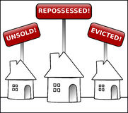 House Crisis property warning. Illustration of three round shaped houses with black outlines under signs stating unsold, repossessed and evicted on a white Royalty Free Stock Images