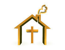 House and cross, religious concept Stock Photography