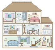 House cross-section. Cross-section of a doll house style building Stock Images