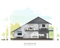 House cross section with furniture and peaceful landscape background. Vector , illustration royalty free illustration