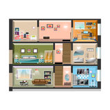 House cross section with room interiors. Vector illustration royalty free illustration