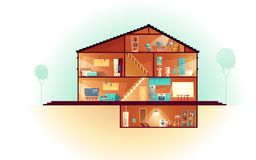 House cross section rooms plan cartoon vector. Modern house, three-storey cottage cross section interiors cartoon vector with laundry in basement, living room royalty free illustration