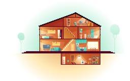 House cross section rooms plan cartoon vector
