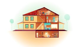House cross section rooms plan cartoon vector. Modern house, two-storey cottage exterior and cross section interiors cartoon vector with laundry in basement vector illustration