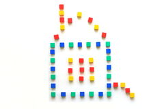 The house of cubes. The colored cubes. Royalty Free Stock Photos