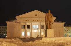House of the culture. In Dudinka city and monunent Lenin, Krasnoyarskiy region, Russian Federation stock image