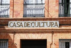 House of Culture sign, Priego de Cordoba. Stock Images
