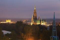 House of Culture and St. Mary`s Basilica in Dabrowa Gornicza. Dabrowa Gornicza, Slaskie, Poland Stock Photos