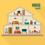 House in cut. Detailed modern house interior. Stock Photography