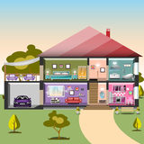 House in cut. Detailed modern interior inside house. Rooms with furniture. Flat style vector illustration Stock Image