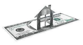 House cut from dollar bill Royalty Free Stock Photo