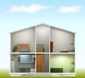 House cut with interiors on against the sky Royalty Free Stock Photos