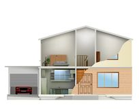 House cut with interiors and part facade. Vector Stock Image