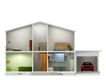 House cut with interiors. Vector illustration Stock Photos