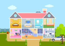 House in cut view with detailed interior and furniture Royalty Free Stock Images