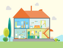 House in Cut View. Vector Stock Image