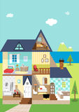 House cutaway and decoration in the daytime. Modern flat  illustration of a three story house with an attic. Interior of a bedroom, bathroom Royalty Free Stock Photography